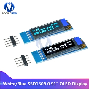 5PCS SSD1306 Blue/White OLED LCD Display 0.91 Inch 128x32 IIC I2C Serial DIY Module Driver IC 0.91