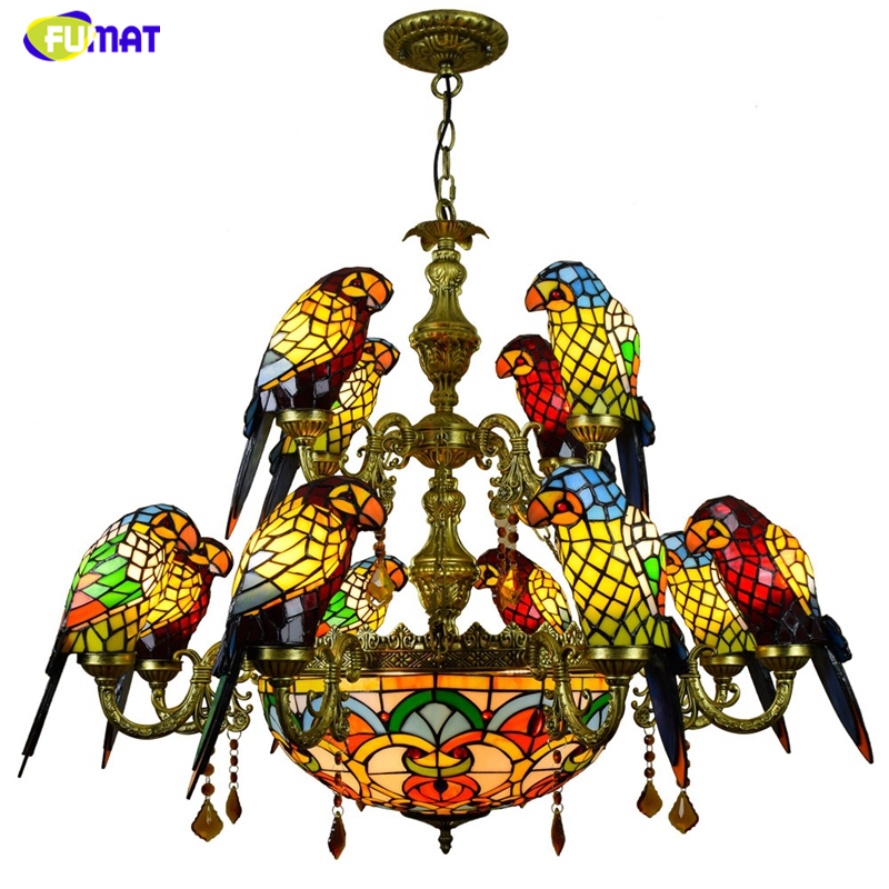 FUMAT Luxueux Perroquet Double pont Lustres Tiffany Teinté verre 12 oiseaux Perroquet Restaurant Bar club salon Lumières