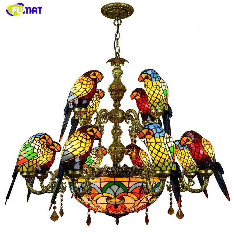 FUMAT luxueux perroquet Double pont lustres Tiffany vitrail 12 oiseaux perroquet Restaurant Bar club salon lumières