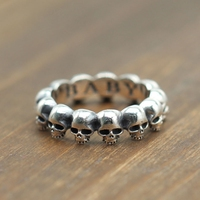 Gothic Skull Thin Band Solid Silver 925 Rings Men Women Top Fashion Antique Sterling Silver 925