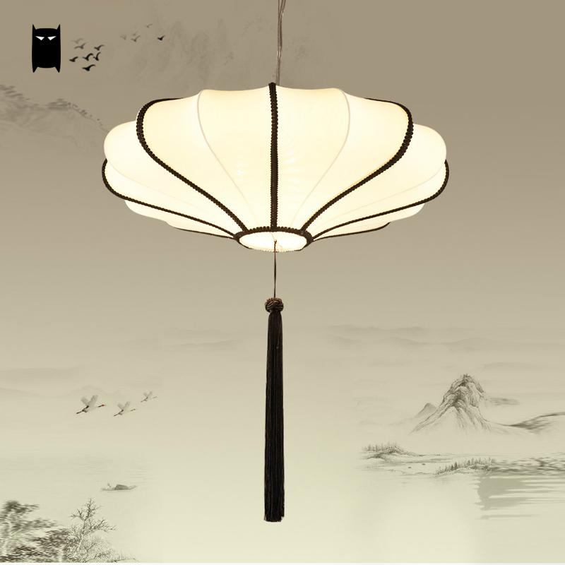 40/50/60cm Beige Round Iron Fabric Lantern Shade Pendant Light Fixture Chinese Japanese Hanging Ceiling Lamp Dining Table Room