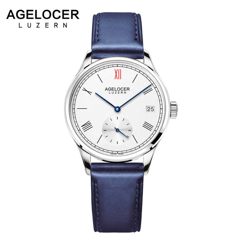 Agelocer Brand Swiss Automatic Watch Women Leather Bracelet Date Ladies Wristwatch Black Mechanical Watch Clock Reloj Mujer