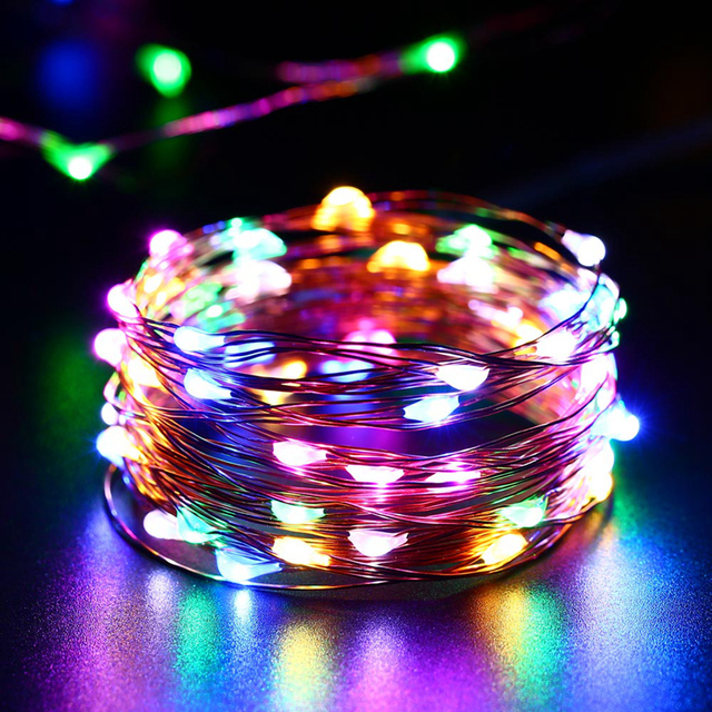 5m 50 Led 3xaa Battery Operated Copper Wire String Light For Xmas Garland Party Wedding Decoration Christmas Flasher Fairy