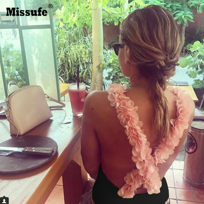 Missufe New Fashion Petal Deco Beach Bodysuits Women Cross Backless Beachwear Sexy Bandage Swimsuits Rompes 2018 Summer Bodysuit