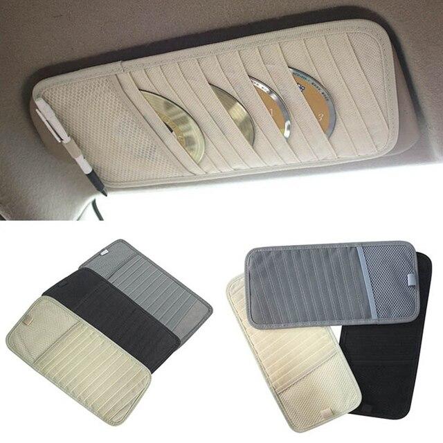 Car Sun Visor Glass Pen DVD Disk Card Case with Tissue Box Multifunctional Sunshade Storage Bag Holder Clip