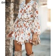 SINRGAN Женщины Цветочные Пояса Рубашки Платье Пляжные Дамы Свободные Короткие Корейские Платья Осень Талии Стритстайл