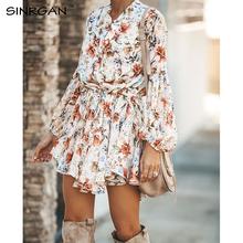 SINRGAN damska koszula z kwiecistymi szarfami sukienka plażowa damska luźna krótka sukienka w koreańskim stylu jesień 2019 talia Steetwear tanie tanio COTTON Poliester PDC0108 Przycisk Wiosna Naturalne Pani urząd -Line Pełna Drukuj Kobiety V-neck Latarnia rękaw Powyżej kolana Mini