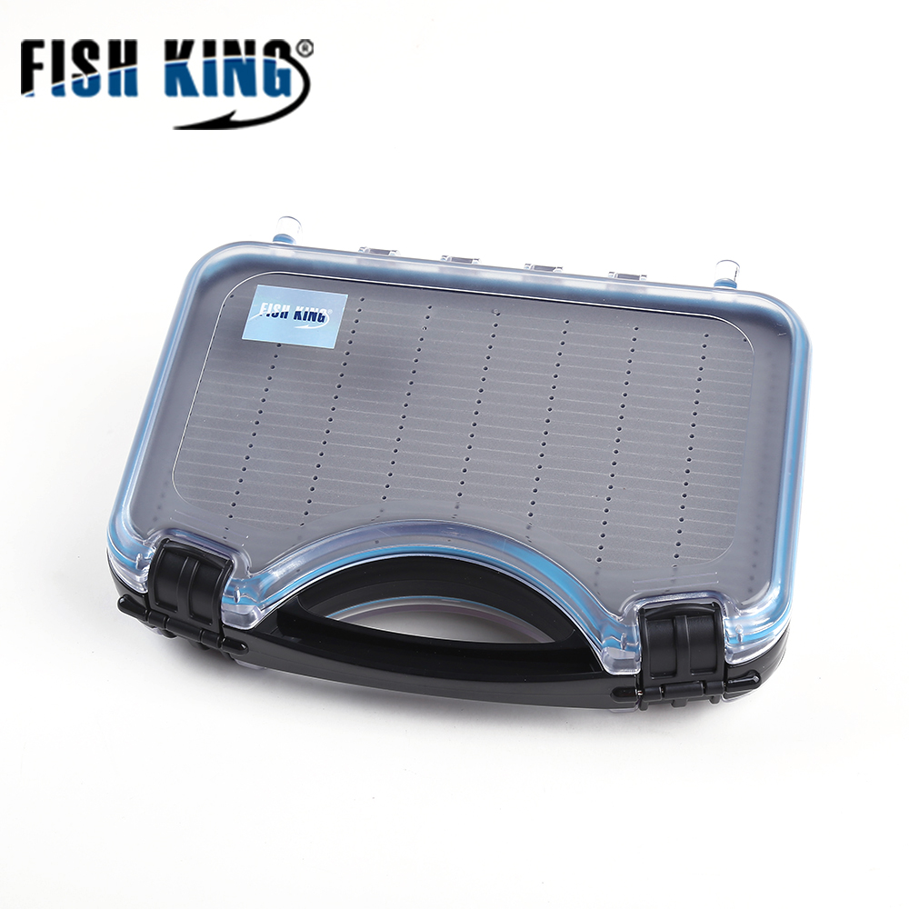FISH KING Fly Fishing Lure Box High-Capacity Bait Container Hook Set Storage Case Bait Tools Waterproof Fishing Accessories joshnese fly fishing lure large waterproof fly fish box fly box fishing storage quality swing leaf black free shipping