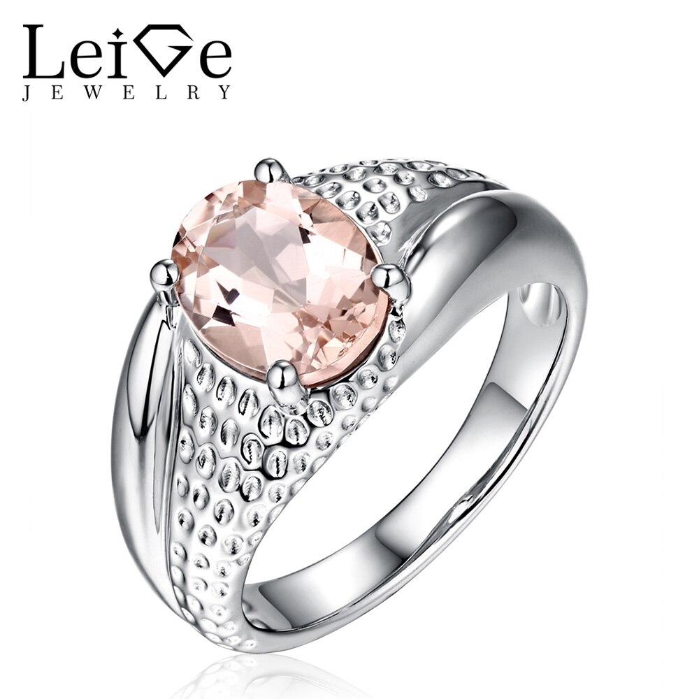 Leige šperky Morganite prsten růžový drahokam oválný střih ženy svatební zásnubní prsteny stříbrné slibné prsten výročí dárek
