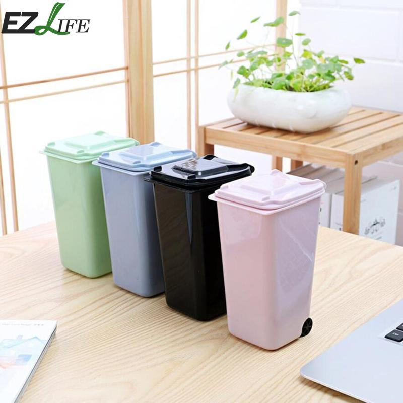 Mini Small Waste Bin Desktop Garbage Basket Table Home