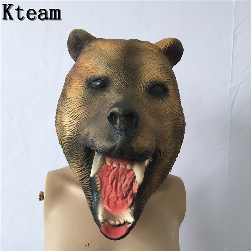 Top Grade 100% Latex Party Celebration Fancy Dress Overhead Cosplay Costume Latex Brown Bear Mask Scary Animal Bear dog mask toy