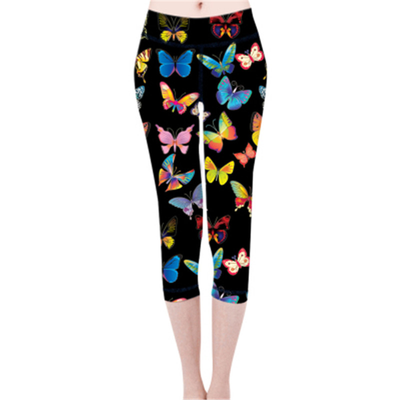 FORUDESIGNS Wholesale Butterfly Pattern Women Leggings Work out Elastic Leggins Female Ladies Soft Summer Leggings Gothic Pants