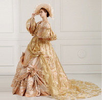 Fancy Victorian Medieval Renaissance Costume Dress Antoinette Theater Ball Gown with hat 1508