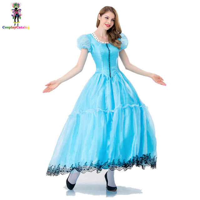 b72607b899 Fairytale Princess Blue Dress For Adult Women Deluxe Beautiful Princess Halloween  Costume Plus Size Classic Cinderella Costumes