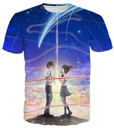 New Arrive Casual O Neck Graphic T Shirt Kimi No Na Wa Anime Your