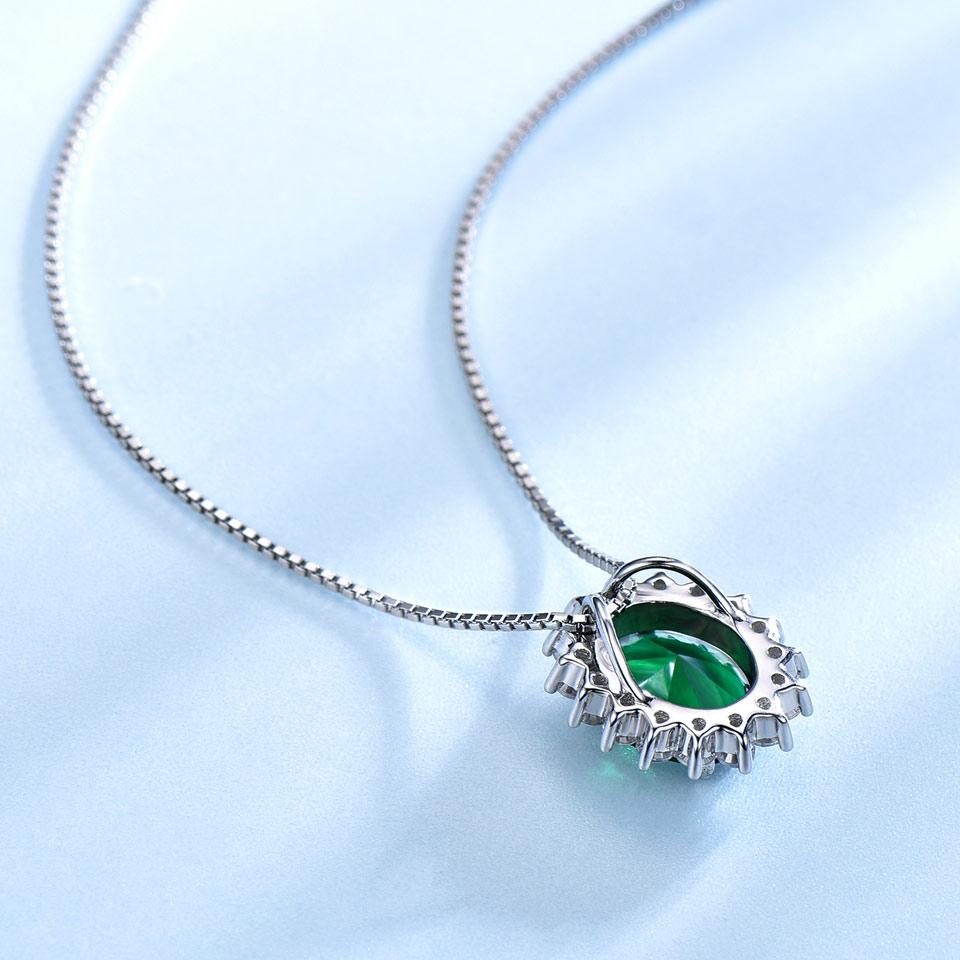 UMCHO Oval 8 * 10mm Gemstone Nano Emerald Privjesak 925 Sterling - Fine nakit - Foto 3