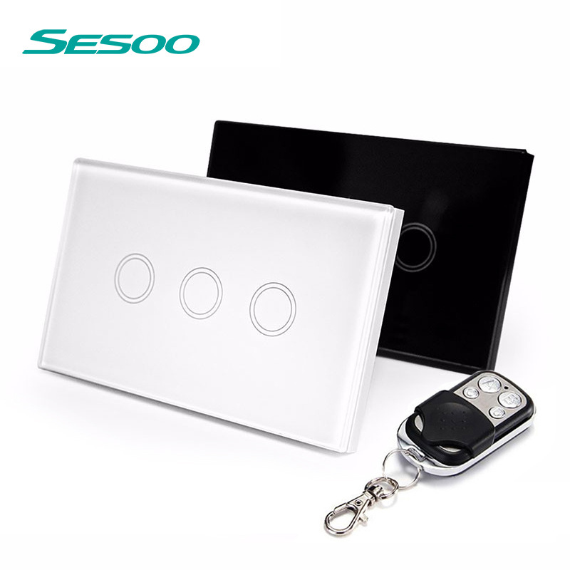 US Standard SESOO Remote Control Switches 3 Gang 1 Way,Wireless remote control wall touch switch,Crystal Glass Switch Panel control wall switch us standard remote touch black crystal glass panel 1 gang way with led indicator switches electrical