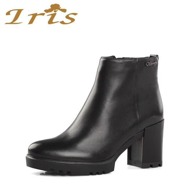 Genuine Leather Women's Round Toe Chunky Heel Platform Style Handmade Ankle Boots