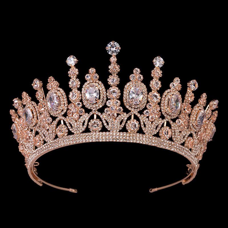 Hadiyana ใหม่เจ้าสาวคลาสสิก Couronne De Mariage Crowns 2018 Luxury Elliptical Zircon งานแต่งงาน Big Crown สำหรับผู้หญิง BC4053