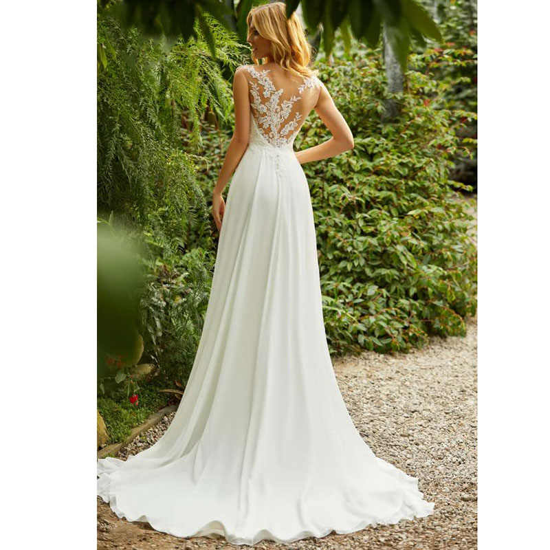 לורי Boho חתונה שמלת O-צוואר אפליקציות תחרה למעלה קו בציר נסיכת חתונה שמלת שיפון חצאית חוף הכלה שמלת 2019 חם