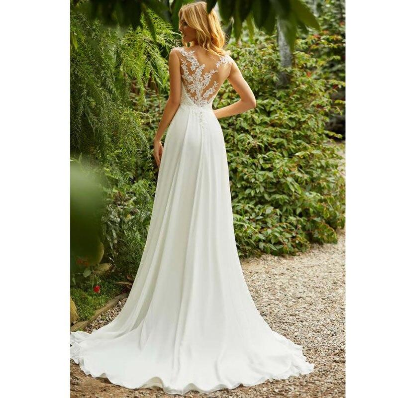 87152fa60 € 75.7 45% de DESCUENTO|LORIE Boho vestido de boda cuello redondo apliques  encaje Top A línea Vintage princesa vestido de boda falda de gasa playa ...