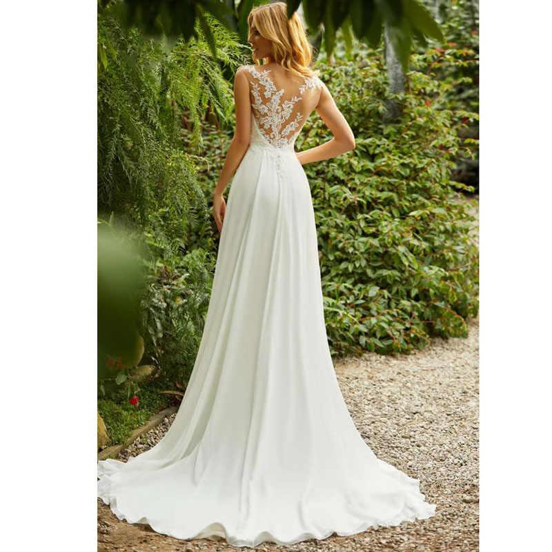LORIE Boho vestido de boda cuello redondo apliques encaje Top A línea Vintage princesa vestido de boda falda de gasa playa vestido de novia 2019 caliente