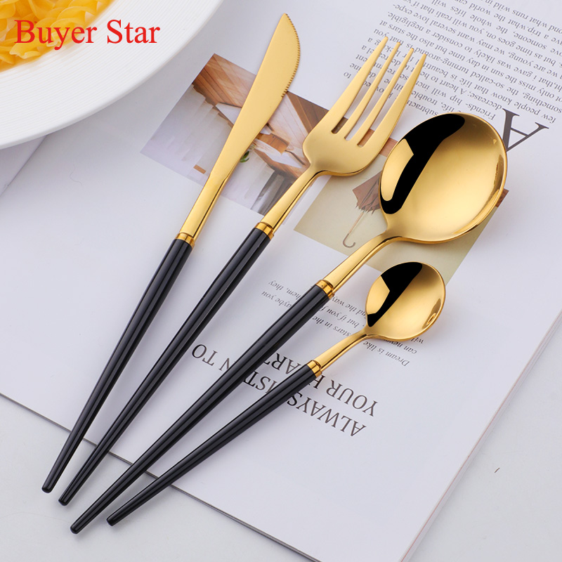 Colorful Stainless Steel Flatware Cutlery Set Fashion Knife Fork Spoon Coffee Spoon Set Dinnerware Tableware For Drop Shipping