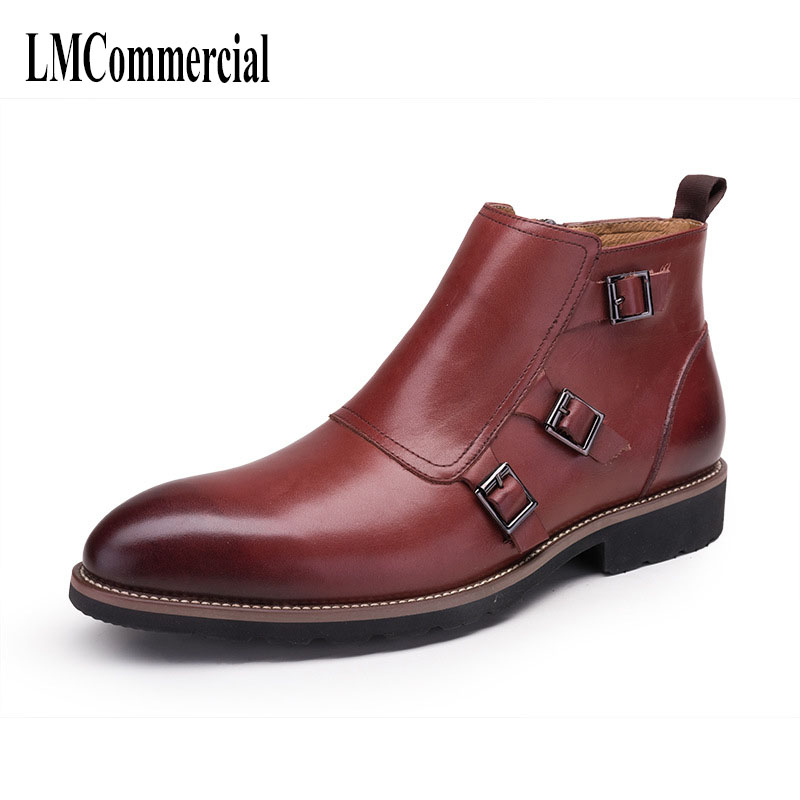 New bursts of real leather Martin Boots Men's boots new autumn winter British retro men shoes all-match cowhide breathable 2017 new autumn winter british retro zipper leather shoes breathable sneaker fashion boots men casual shoes handmade
