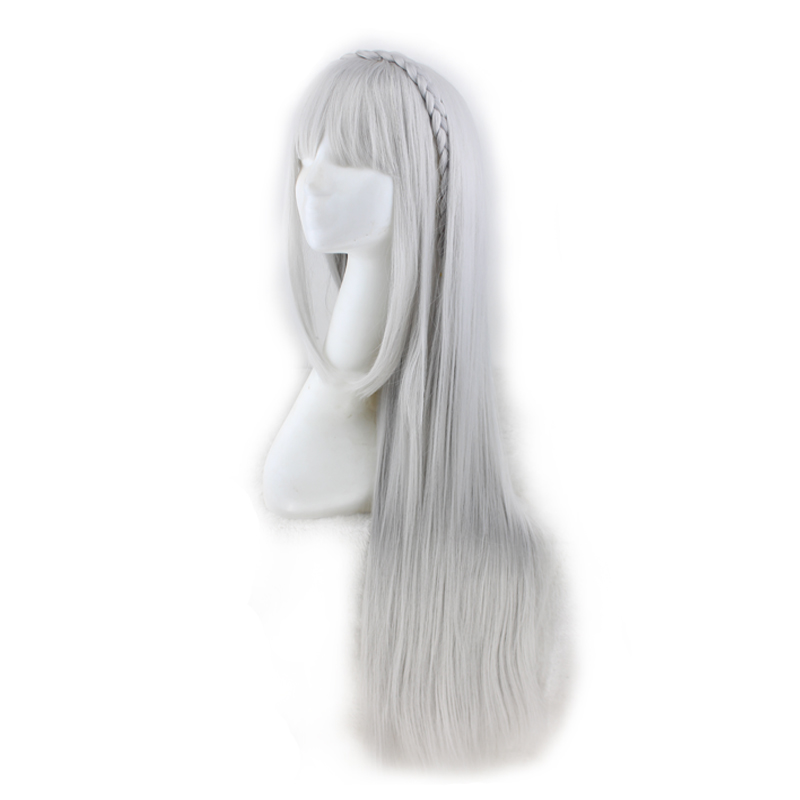 Image 2 - QQXCAIW Long Straight Cosplay Sliver Gray  100 Cm Synthetic Hair Wigs-in Synthetic None-Lace  Wigs from Hair Extensions & Wigs