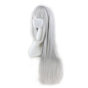 Image 2 - QQXCAIW Long Straight Cosplay Sliver Gray  100 Cm Synthetic Hair Wigs