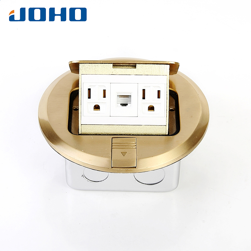 Brass Material Round type Recessed floor box with rj45 socket 15A US outlet brass fast pop up floor socket outlet box with 15a us socket and rj11 data