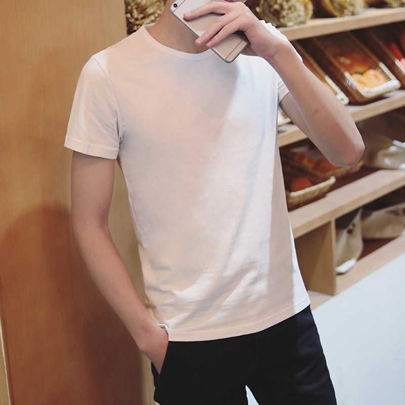 แฟชั่น V คอสั้นแขนเสื้อยืดผู้ชายใหม่ผู้ชายฤดูร้อนชาย T เสื้อสีขาวสีดำ Tops Tees ขนาด M-2XL