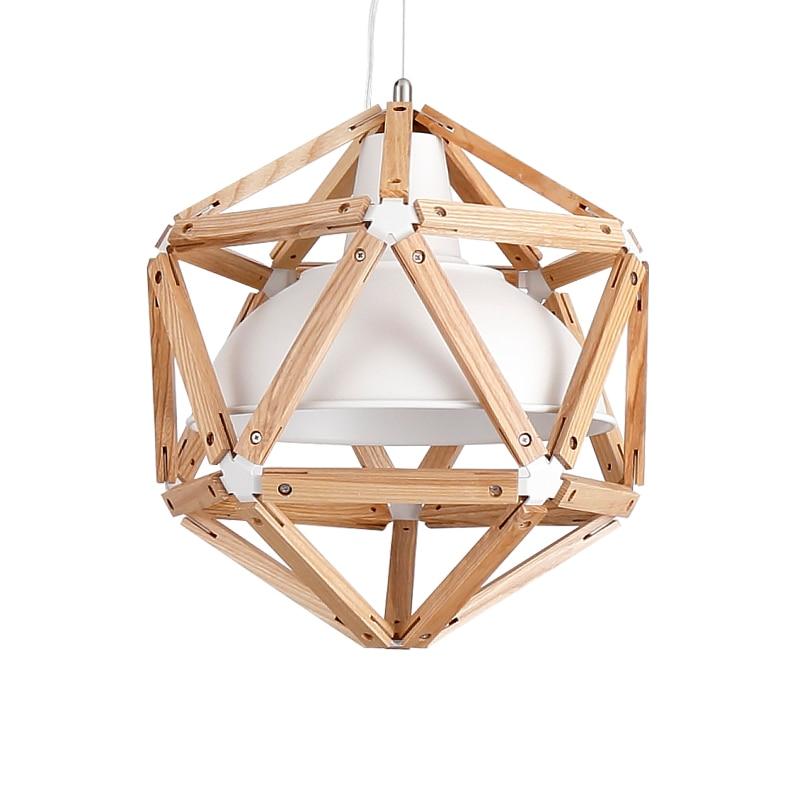 Vintage loft estilo japonés diamante 35/45cm luz colgante de madera de roble Pantalla de hierro Retro lámpara E27 110/220V cable colgante accesorio de luz - 2