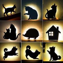 Новый светодиодный светильник с датчиком движения, умный звук/светильник, автоматический теплый белый ночной Светильник, домашний коридор, балкон, детская Милая лампа для сна с кошкой