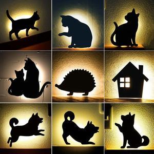 Image 1 - חדש LED Motion חיישן חכם שליטת קול/אור אוטומטי חם לבן לילה אור בית מסדרון מרפסת תינוק ילדים חמוד חתול שינה מנורה