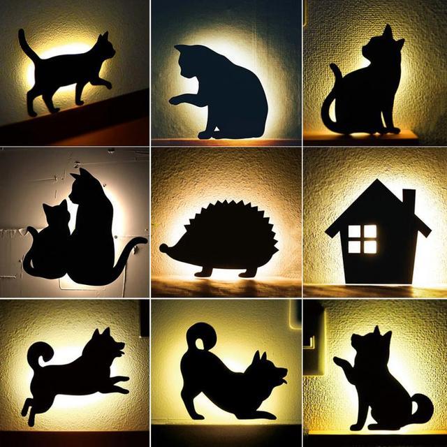חדש LED Motion חיישן חכם שליטת קול/אור אוטומטי חם לבן לילה אור בית מסדרון מרפסת תינוק ילדים חמוד חתול שינה מנורה
