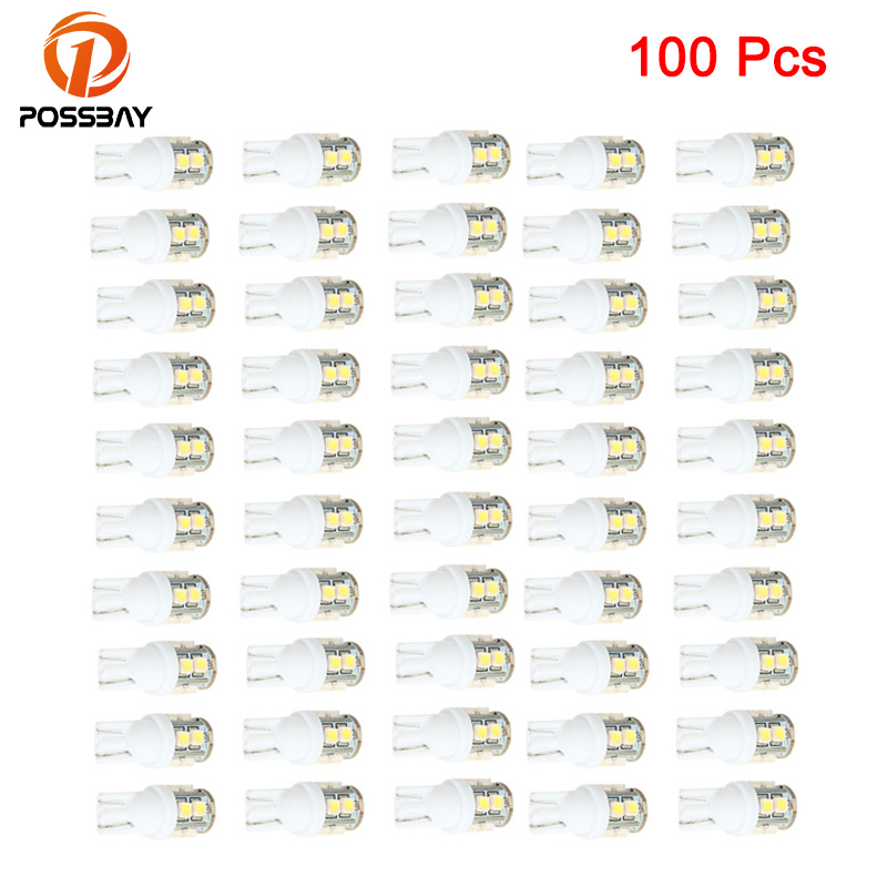 POSSBAY <font><b>100x</b></font> <font><b>T10</b></font> Universal Car Dome LED Light 501 194 168 W5W 1210 10 SMD 10 LED Wedge Lamp Signal Bulbs White image