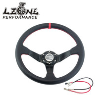 LZONE RACING Leather SP Car Steering Wheel Racing Steering Wheel Deep Auto Steering Wheel 350mm Leather
