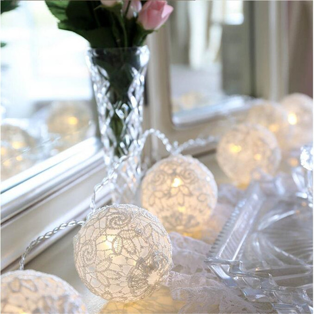 New White Lace Crochet Ball 10LED Fairy Lights battery operated ...