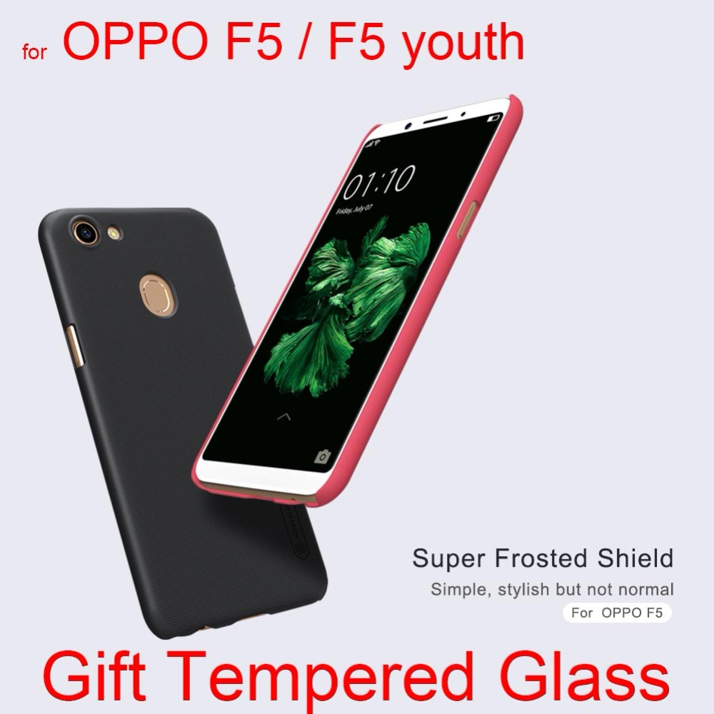 "afor OPPO f5 case cover 6.0"" Nillkin plastic matte cover hard case for OPPO f5 Gift tempered glass screen protector"