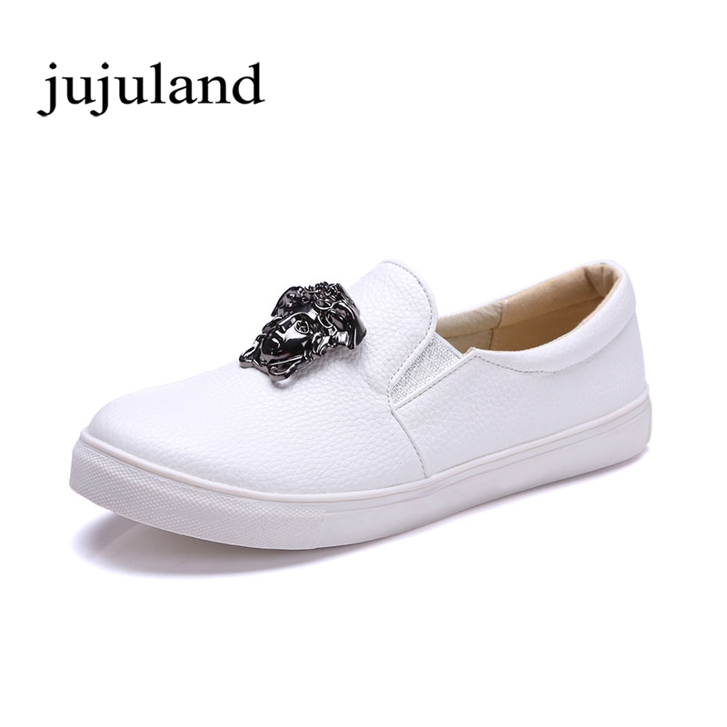 Spring/Autumn Women Shoes Women's Flats Loafers Casual Solid Slip-On Round Toe Metal Decoration spring autumn women shoes genuine leather flats loafers flat platform casual fashion round toe slip on mesh transparent flower
