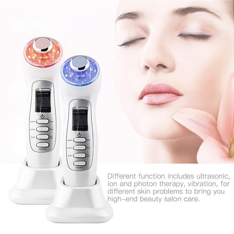 7 In 1 Ultraschall Hautpflege Schönheit Gerät Ionic Poren Reiniger LED Blau Rot Licht Photon Gesicht Lift Haut Zu Straffen falten Entfernung-in Elektrische Gesichtsreinigungsgeräte aus Haushaltsgeräte bei  Gruppe 1