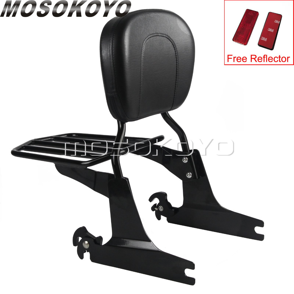 Detachable Sissy Bar Luggage Rack Backrest Pad for Harley Softail Fatboy Springer FLST FXST FLSTF FLSTS