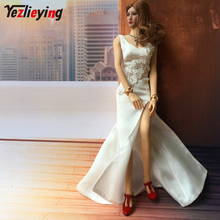 mnotht 1 6 soldier dress cheongsam slit skirt sexy model girl evening dress clothes black blue toys for 12 action figure m2n 1/6 scale female clothes soldier Long Skirt Dress Robe Evening Clothes V-neck Wedding female clothing nice for12Inch Body Figure