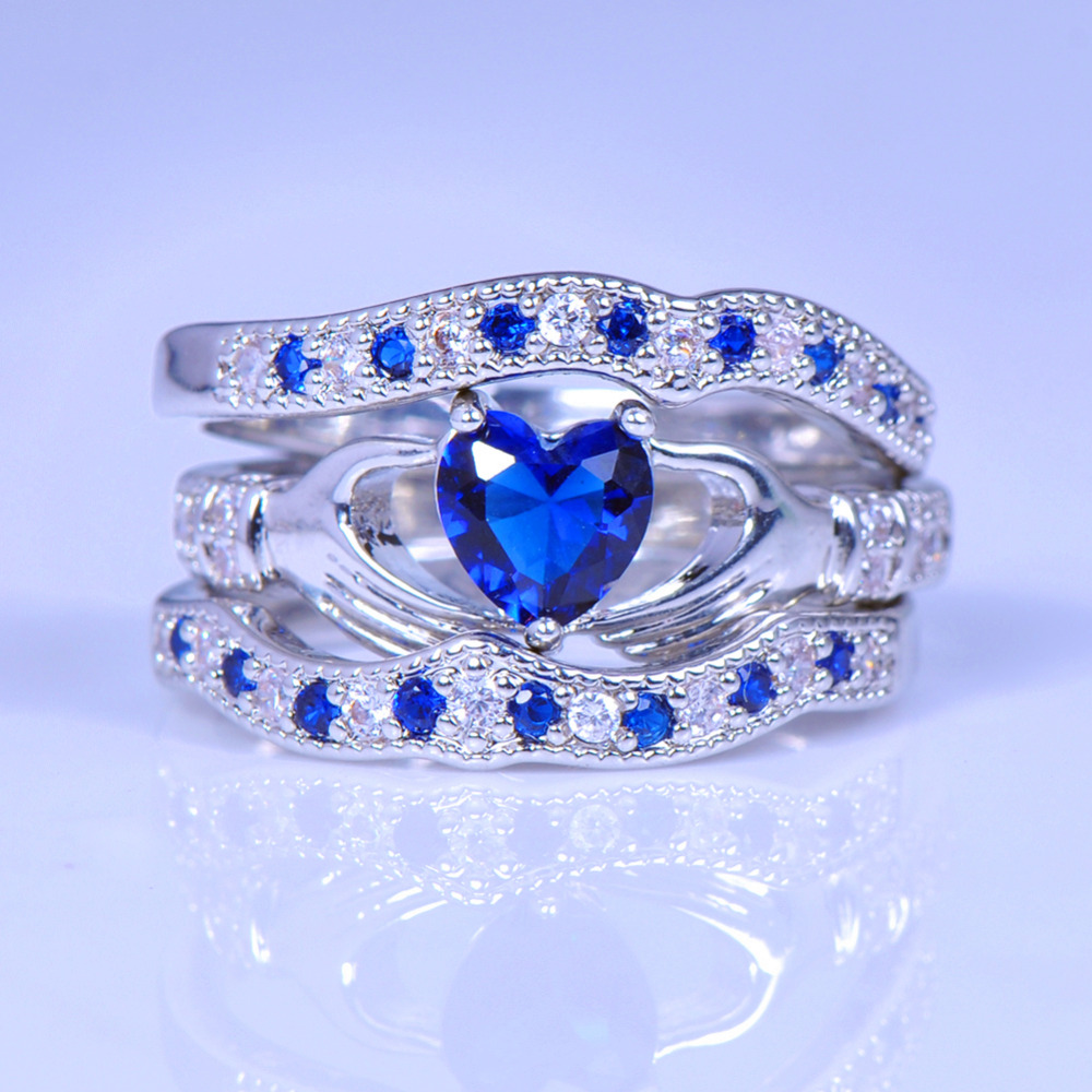 lose money sell brand blue heart women ring sets claddagh rings 925 silver bohemian wedding - Where To Sell Wedding Ring