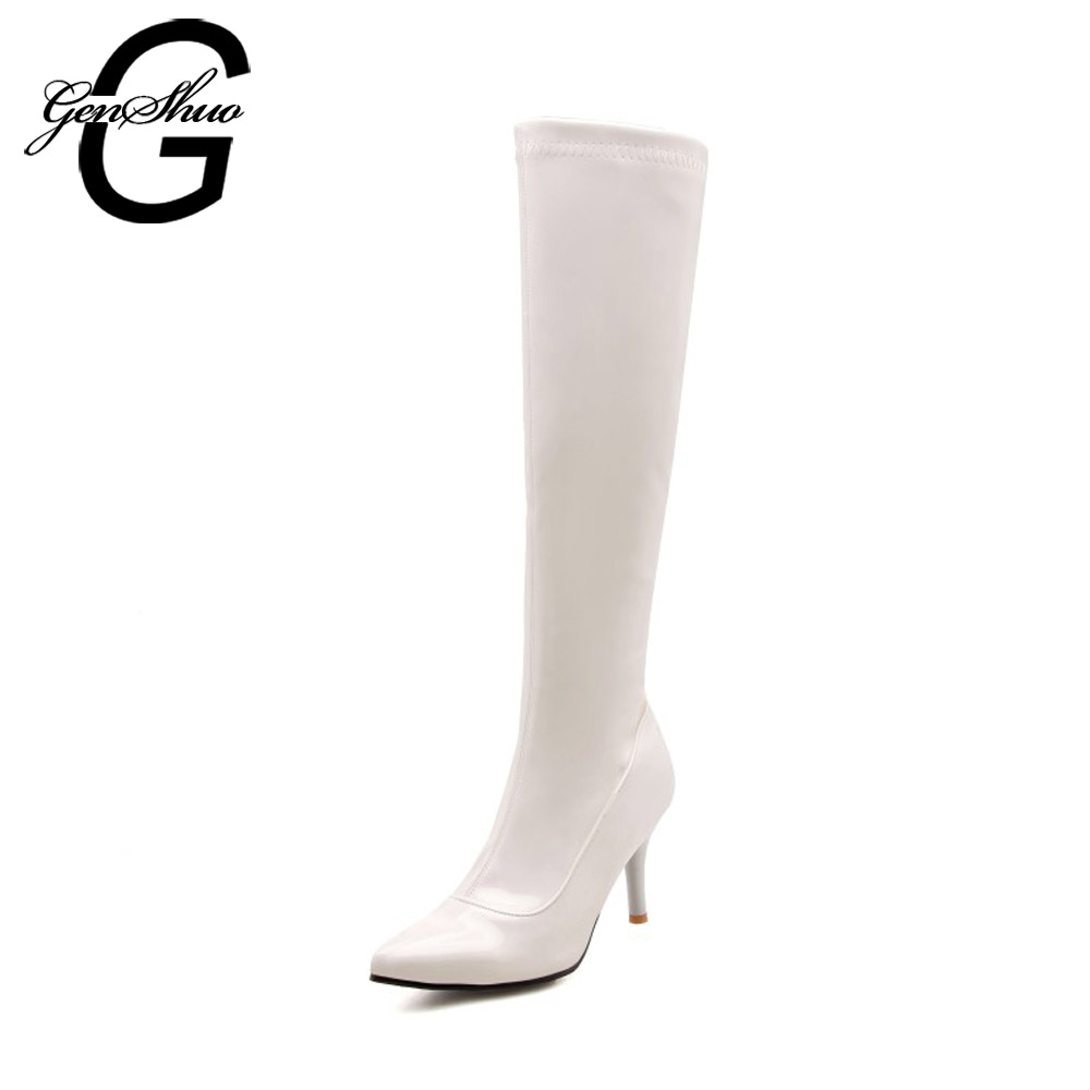GENSHUO Sexy Night Club Shoes Knee High Boots Women Shoes Fashion Black Pole Dancing Shoes Short Plush Soft Patent Leather Boots women sexy prom night club black
