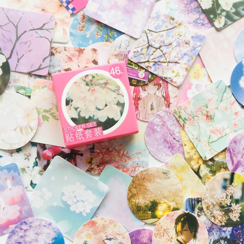 46 Sheets Sakura Season Mini Adhesive Stickers Stick Label Decoration Stickers