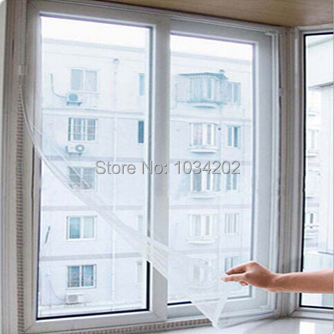DIY FlYSCREEN Anti-Mosquito Polyester Window Screens Self-adhesive Mosquito Nets Mesh 130*150cm Free shipping