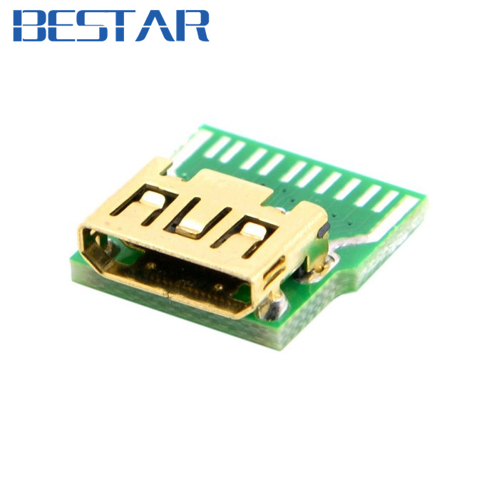 10pcs Mini HDMI 1.4 Type-C Female Socket Receptacle Board Mount SMT Type with PCB for HDTV DIY Cable 10pcs mini hdmi 1 4 type c female socket receptacle board mount smt type with pcb for hdtv diy cable