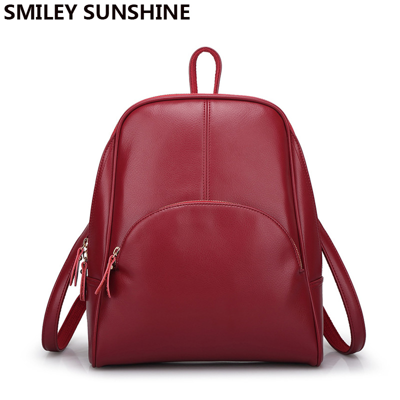 SMILEY SUNSHINE split leather women backpacks schoolbag 2017 female school bags feminine backpacks for teenagers girls  mochilas